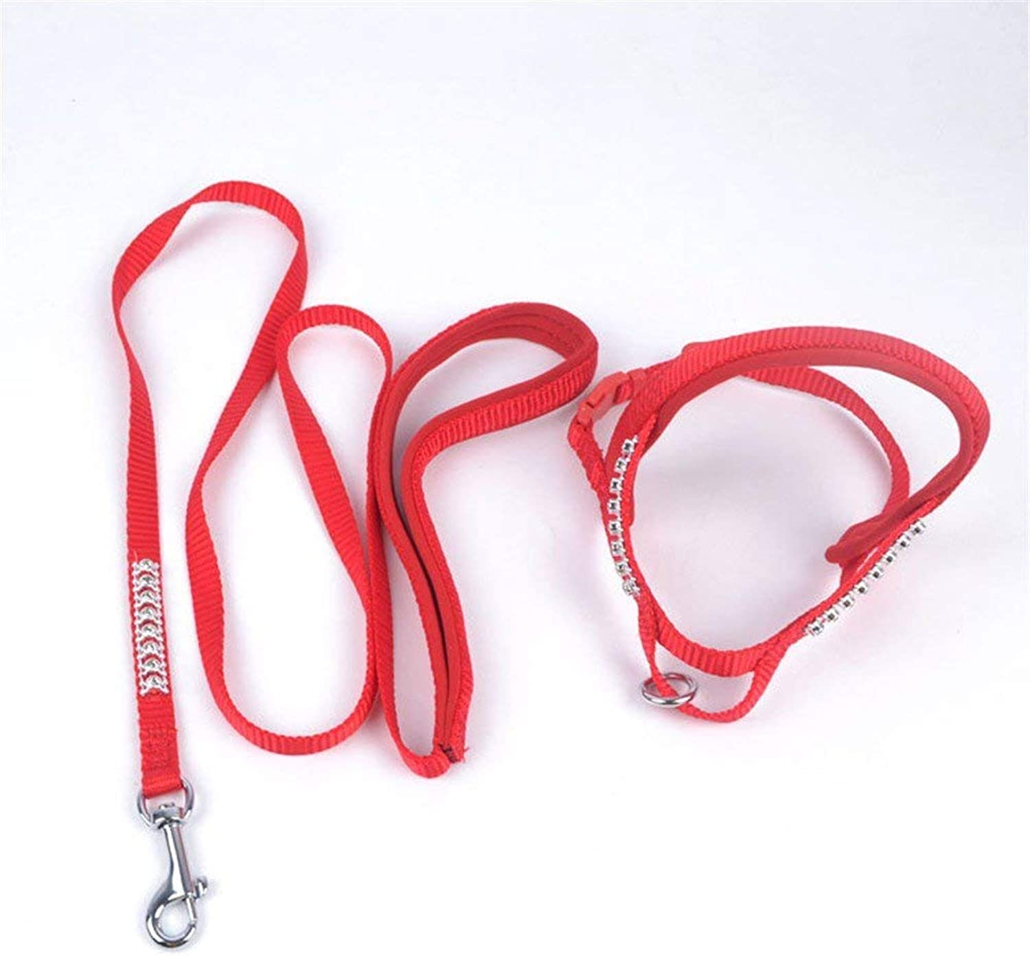 Dog Lead Dog Lead Pet Harness Set Dog Traction Rope Pet Nylon Training Traction Rope,bluee Dog Training Leash (color   Red)