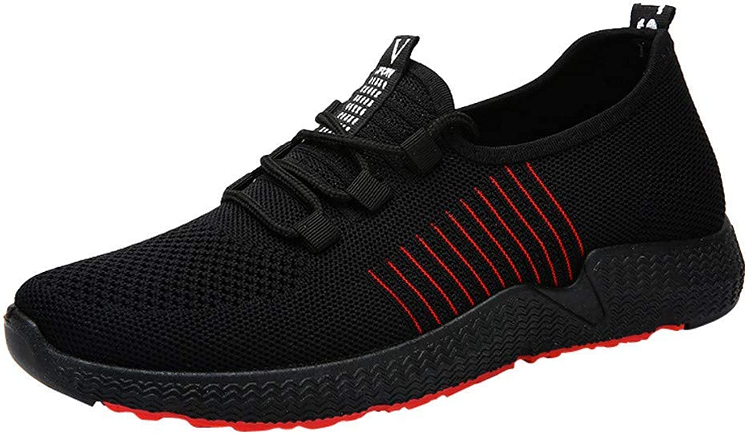 Wallhewb Sneakers for Men, Caopixx Men's Running shoes Fitness Casual Mesh Soft Lightweight Breathable shoes Handsome Leg Length Soft Comfortable Skinny Joker Highten Increasing Black US 8.5 shoes