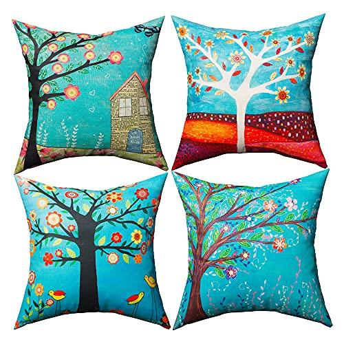 Dafei - Set di 4 federe per cuscino, motivo albero della vita, 45 x 45 cm, colore: Verde
