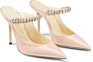 Pointed Toe Stiletto Mules Mary Jane Slippers High Heel, 3.5 Inch Crystal Sandals Rhinestone Slip On Slim Strap Closed Toe Backless Jewelry Slide for Party Wedding Office 4-11 M US