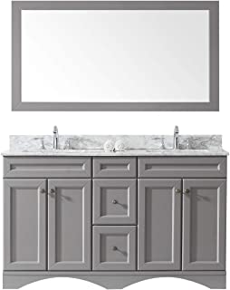 Virtu USA ED-25060-WMSQ-GR Talisa Double Bathroom Vanity with Marble Top/Square Sink with Mirror, 60 inches, Cool Gray