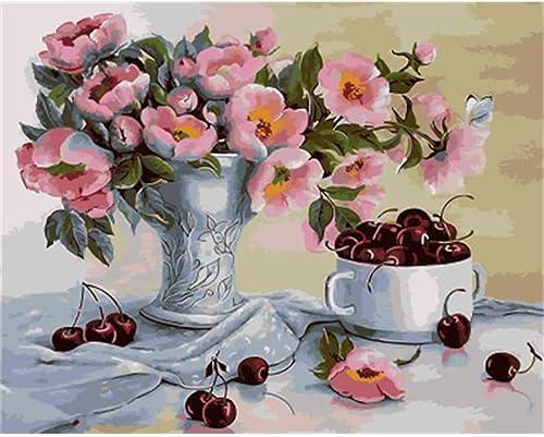 CHAORENZHU Enmarcado DIY Pintura por Números Flor DIY Lienzo Digital Pintura Al óleo Decoración para el Hogar para la Sala de Arte de La Parojo