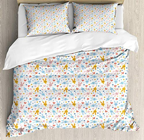 Pastel Single Size Duvet Cover Set, Bed Sheets, Cute Baby Bunnies Flowers and Hearts Friendly Kids Cartoon Characters, Decorative 3 Piece Bedding Set with 2 Pillow Shams, Marigold Pale Blue Coral