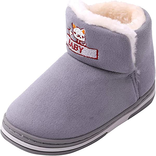 Kauneus Winter Boots Boy Girl Soft Warm Shoes Toddler Black Snow Boots Toddler Little Kid Big Kid