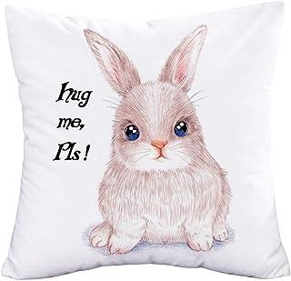 YANGYULU Hopyeer Hug Me Pls Sweet Quote Words Throw Pillow Cover Cute Rabbit Art Painting Super Soft Pillowcase Home Sofa ...