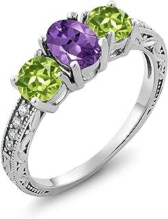 2.01 Ct Oval Purple Amethyst Green Peridot 925 Sterling Silver Ring