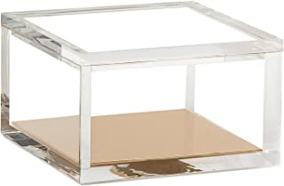 OfficeGoods Acrylic & Gold Odds & Ends Box - Office or Home Accessory - Perfect Container for Storage or for Display - an Elegant Addition to Your Desk, Kitchen or Vanity (Small)
