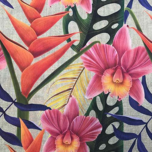 Kt KILOtela Tela de loneta resinada - Mantelería Antimanchas - Retal de 100 cm Largo x 140 cm Ancho | Plantas y Hojas Tropicales - Naranja, Rosa, Azul, Verde ─ 1 Metro