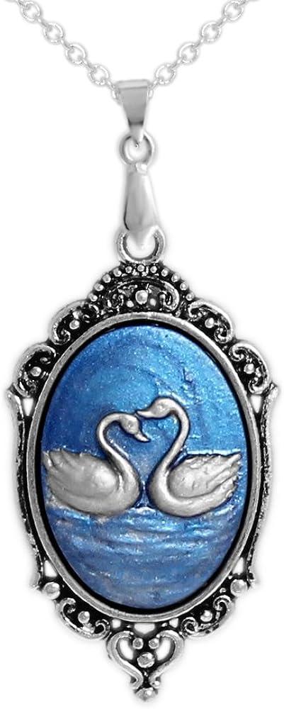 Autumn's Glory Persian Blue Silver Cameo Color 毎日がバーゲンセール ☆国内最安値に挑戦☆ Swans Swimming