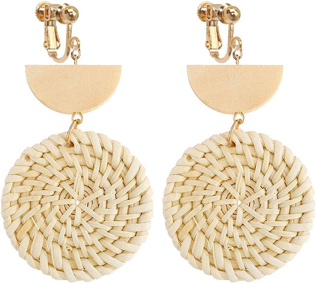 Sojewe Dainty Round Disc Rattan Clip on Earrings for Women and Girl Jewelry Handmade Woven Lightweight Straw Wicker Braid Ethnic Statement Geometric Wooden Moon Dangle Drop Non Pierced Ears