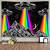 Ine Ive Rainbow UFO Tapestry Bohemia Hippie Stars Wall Decor Psychedelic Mountains Wall Hanging Tapestries Flannel Large Size 8060 Inches Decorate for Bedroom Aesthetic Living Room Dorm In GTLTIE1022