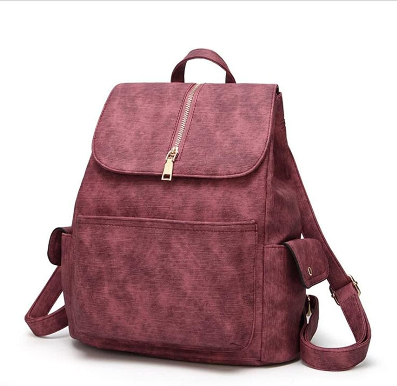LIU Rucksack Retro PU women's backpack women's large capacity simple package casual wild travel backpack (size  31  14  33cm)