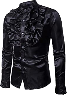 iLXHD Party Men's Autumn Casual Solid Long Sleeve Dress Shirts Blouse Tops