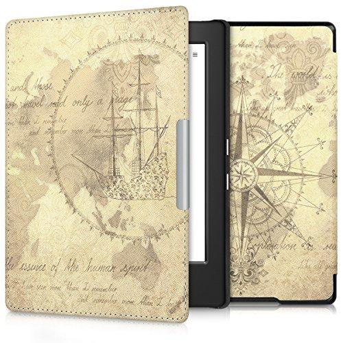 kwmobile Carcasa Compatible con Kobo Aura H2O Edition 1 - Funda para Libro electrónico con Solapa - mapamundi Vintage