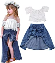 3PCS Toddler Kids Baby Girls Summer Outfit Lace Top Denim Shorts Ruffle Dress Clothes Set