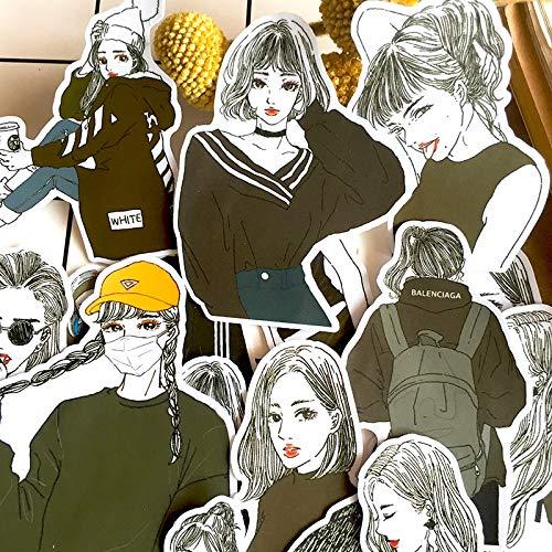 BLOUR 22Pcs / Set Adesivo per Ragazza Maglione Bianco Nero Vintage Fai-da-Te Scrapbooking Album Junk Journal Adesivo Decorativo Felice pianificatore