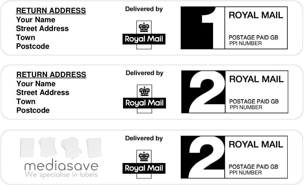 200 Royal Mail Pre AUFDRUCK HÜLLE HULLE PROTECT PROTECTION PPI Etiketten  200st Class oder 20nd Klasse mit Rückgabe Adresse