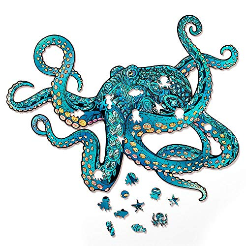 Octopus Wooden Jigsaw Puzzle 231 Pieces, 17.3 x 13.6 in (44 x 34.5 cm) with Unique Shapes for Adults & Kids by WoodGalaxy