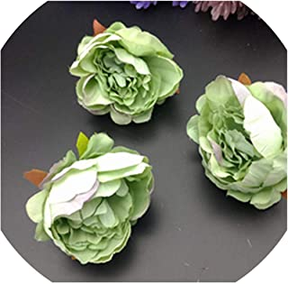Sweet-Candy artifical flowers 5 pcs Artificial Rose Flower Heads for Flower Walls Wedding Home Decorations DIY Christmas Wreath Crafts Silk Peony Flower Heads,Green