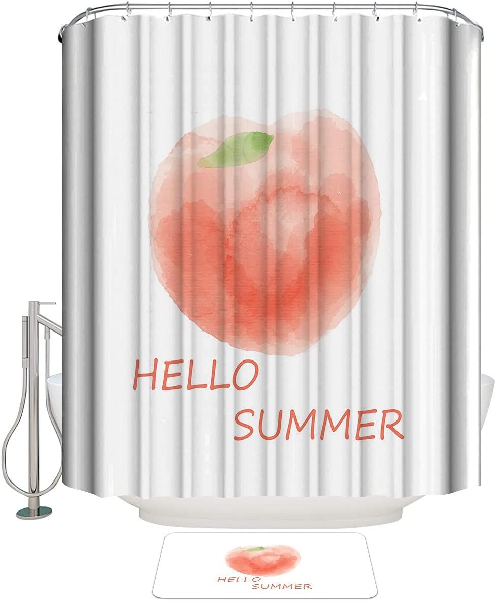 COLORSUM Max 45% OFF Shower Curtain Sets with Rugs The Hello We OFFer at cheap prices Summer Non-Slip