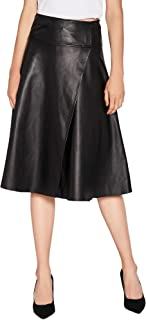 Women's Lambskin Leather Skirt Asymmetrical High Waisted A-Line Skirt Black SmartUniverseWear