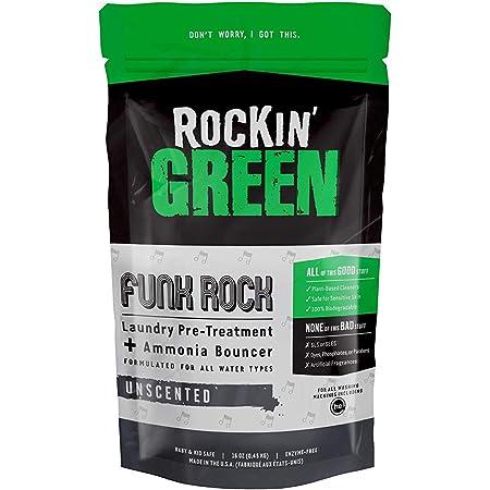 Rockin' Green Funk Rock Ammonia Bouncer - Unscented, Natural Laundry Pre-Treatment Powder, Non-Toxic, Pre-Wash or Pre-Soaking, Vegan, (1) 16 oz. bag - 30 loads