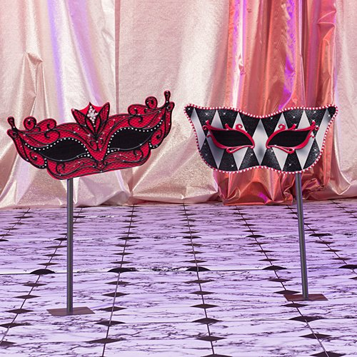 Small Red Masquerade Mask Mardi Gras Stands Standup Photo Booth Prop Background Backdrop Party Decoration Decor Scene Setter Cardboard Cutout
