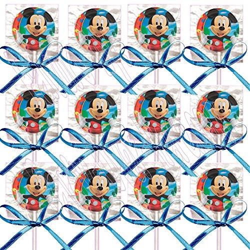 Mickey Mouse Party Favors Supplies Decorations GENERIC Lollipops w/ Blue Bows Favors -12 pcs