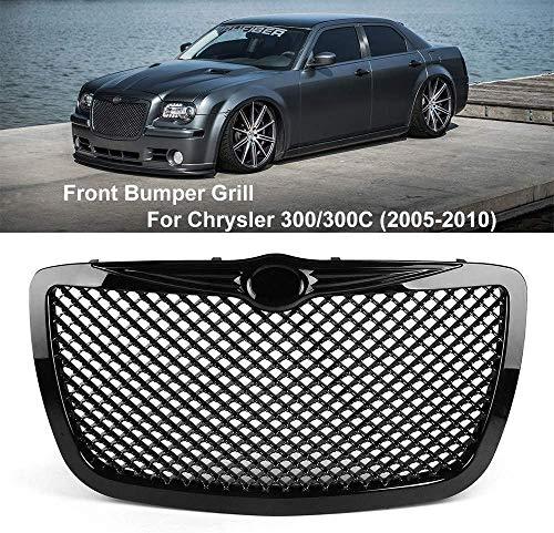 HYNB ABS Front Radiator Grille voor Chrysler 300 / 300C Touring Limited SRT8 2005-2010, Decoratieve Mesh Cover Grill, Gebruikt voor de modificatie van originele accessoires, Zilver, Zwart