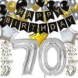 KUNGYO 70 Anni Buon Compleanno Festa Decorazioni Kit - Nero Striscione di Happy Birthday, Pallone 70 in Argento, Stelle Palloncini , Lattice Ballon, Turbinii Appesi