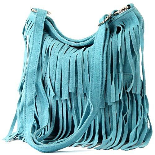 modamoda de - T125 - ital Schultertasche Fransen Wildleder, Farbe:Hellblau