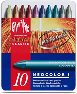 Neocolor I Water-Resistant Wax Pastels, 10 Metallic Colors