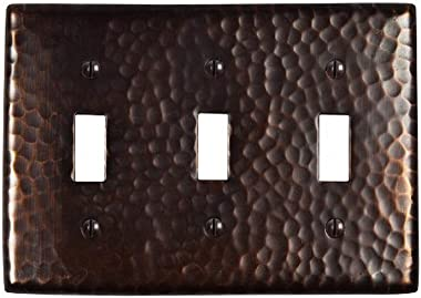 The Copper Factory CF127AN Solid Hammered Copper Triple Switch Plate, Antique Copper Finish