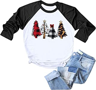 Womens Merry Christmas Plaid Leopard Printed Tree Baseball T-Shirt Funny 3/4 Sleeve Letter Print Graphic Tees Tops
