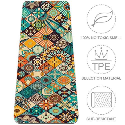 Eslifey Yogamatte, Vintage-Ottomanen-Motive, Mandala-Mosaik-Muster, rutschfest, dick, Boden-Gymnastikmatte, für Damen, 183 x 61 cm