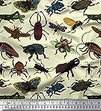 Soimoi Gelb Viskose Chiffon Stoff Käfer, Schmetterling &