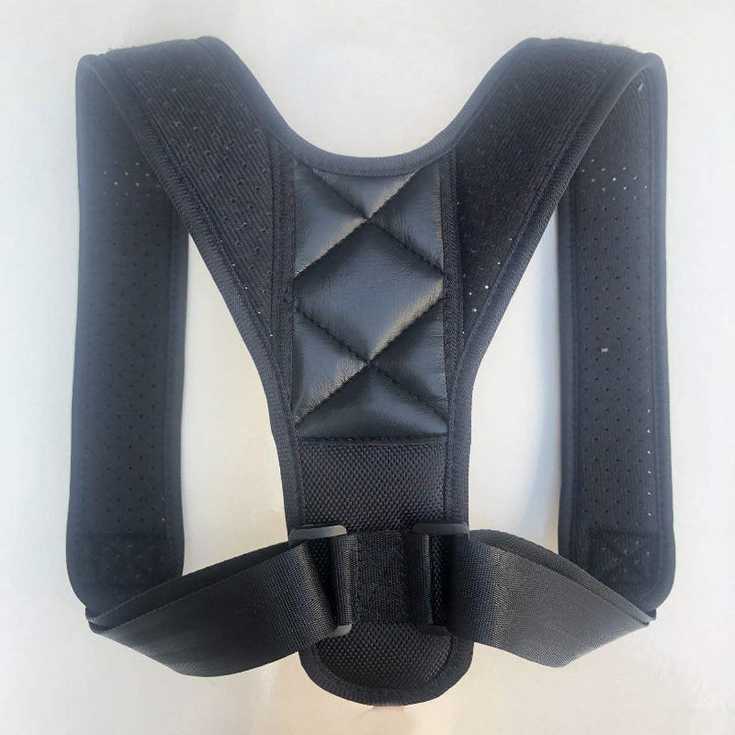 建築家金銭的努力アッパーバックポスチャーコレクター姿勢鎖骨サポートコレクターバックストレートショルダーブレースストラップコレクター - ブラック
