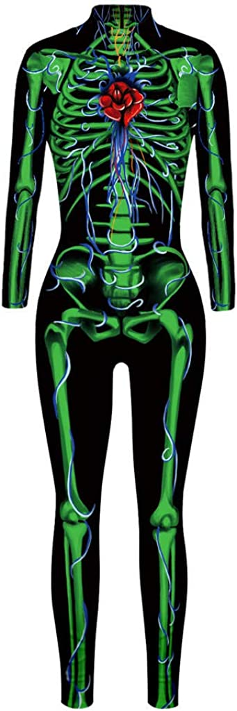Alidamo Womens 3D Halloween Cosplay Skull Skeleton Jumpsuit Bodysuit