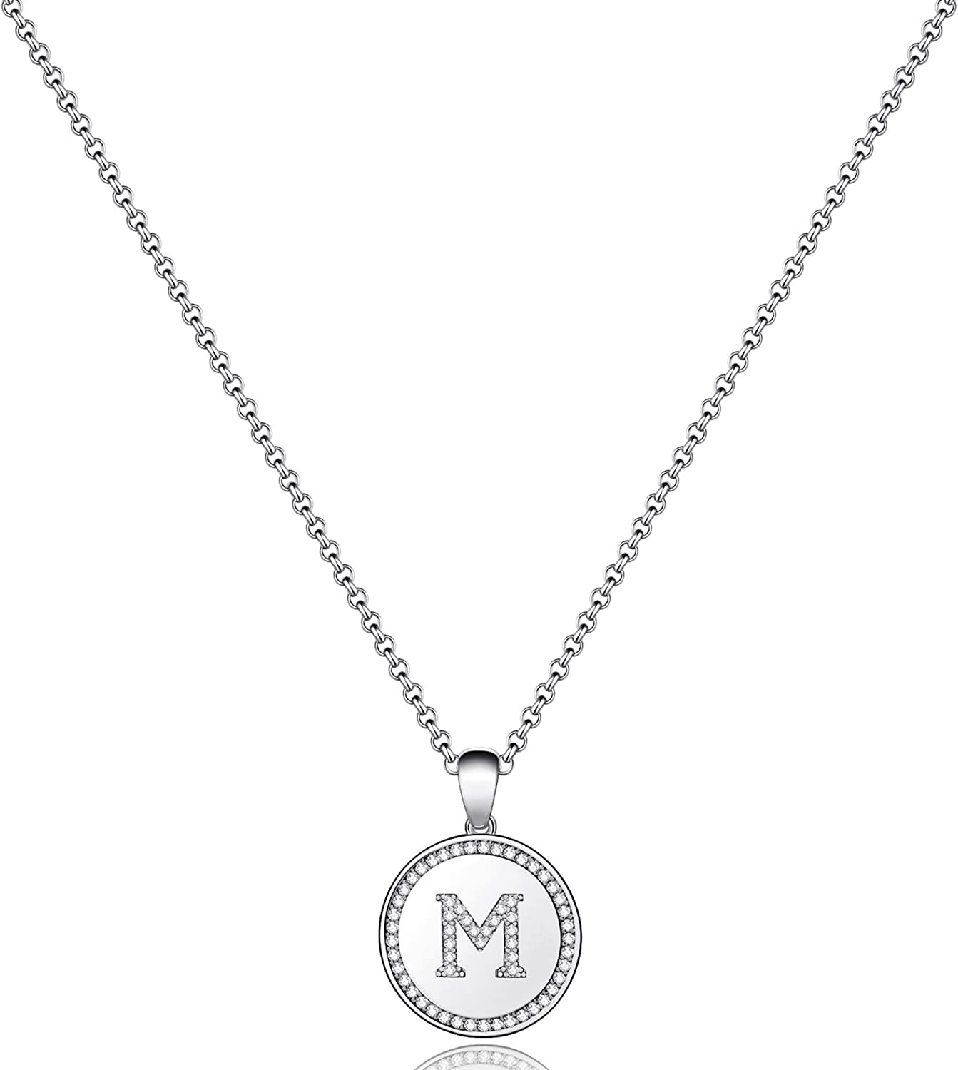 MONOZO Disc Initial Necklace for Limited Special Price Popularity Women CZ Gold 14k Filled Initi