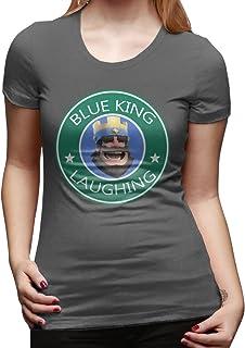 SAXON13 Women's Blue King Laughing Unique T-Shirt Yellow