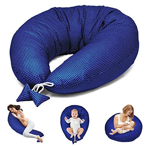 Stillkissen Schwangerschaftskissen zum Schlafen Seitenschläferkissen - Lagerungskissen für Baby XXL Pregnancy Pillow Oeko-Tex (Dunkelblau mit Weißen Tupfen, 165 x 70 cm)