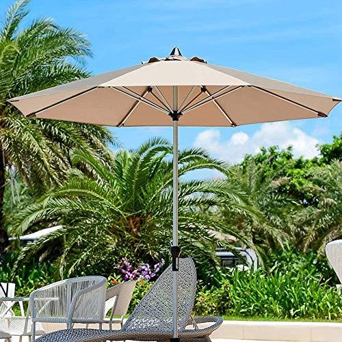 Garden Parasol Sombrilla, Paraguas Doble Jardín Parasol 2.7m |con manivela/Impermeables / 8 Costillas for Terraza/balcón/Patio - sin Base (Color : Khaki, Size : Single Top)