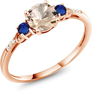 0.80 Ct Round Peach Morganite Blue Simulated Sapphire 10K Rose Gold Ring (Available 5,6,7,8,9)