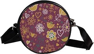 Coosun Umhängetasche mit süßem Vogelmuster, rund, Schultertasche, Handtasche, Handtasche, Umhängetasche, Schultertasche fü...