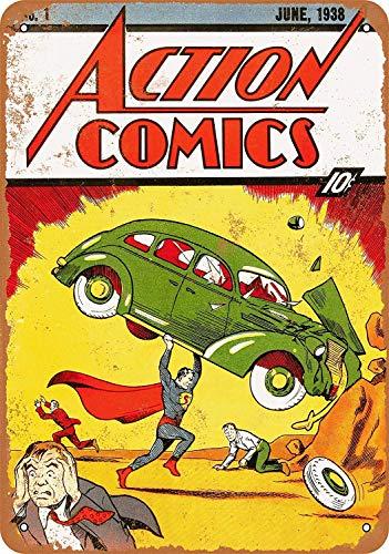 Kia Haop Action Comics #1 Metal Fender Cartel De Chapa Placa Jardin Garaje Cafe Sala Estar La Cocina Art Poster Etiqueta Pared Decoración