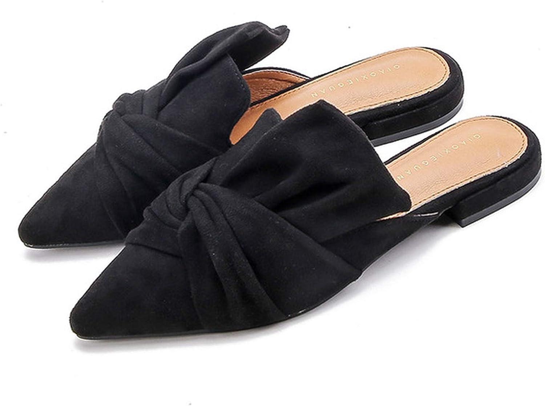 HANBINGPO Elegant Pointed Toe Flat shoes Women bluee Bowtie Women Flats Slip On Ladies shoes