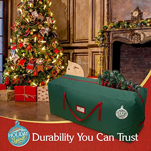image of the HOLIDAY SPIRIT Christmas Tree Storage Bag with a breakdown of features and benefits