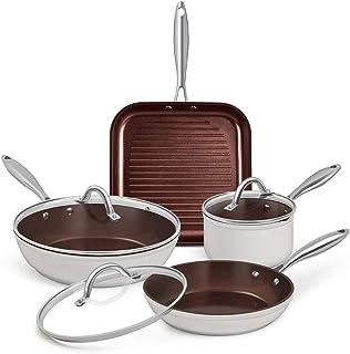 SHINEURI - Juego de utensilios de cocina de aluminio antiadherente con tapas y asas inferiores de inducción para ollas y horno, apto para lavavajillas Blanco - Juego de 7 ollas y sartenes