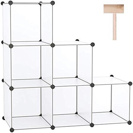 "C&AHOME Cube Storage Organizer, 6-Cube Shelves Units, Closet Cabinet, DIY Plastic Modular Book Shelf, Ideal for Bedroom, Living Room, Office, 36.6"" L x 12.4"" W x 36.6"" H Translucent White"