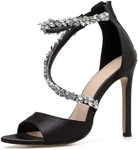 Glintare Sandalias para mujer Correa Cruzada Decoración con Diamantes de imitación Punta Abierta Estilete Cierre de Cremallera Cierre de Cuero sintético Antideslizante Suelas de Goma zapatos Elegante
